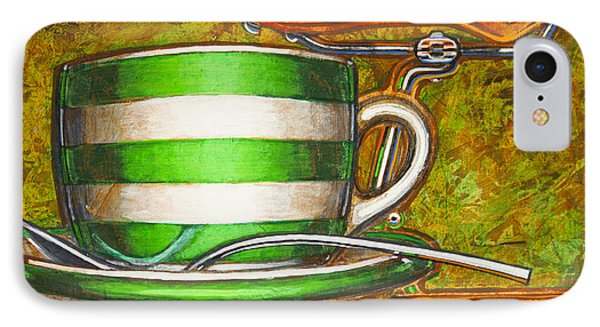 IPhone Case featuring the painting Still Life With Green Stripes And Saddle  by Mark Howard Jones