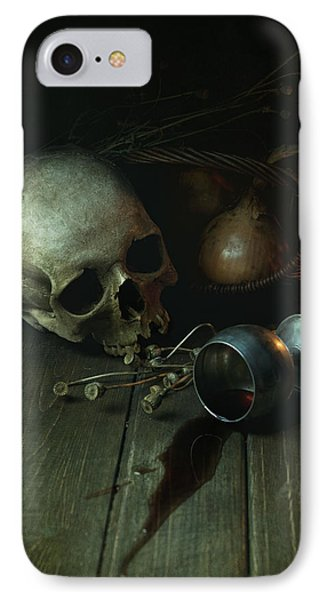 Still Life With Human Skull And Silver Chalice IPhone Case