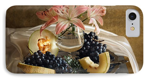 Still Life With Lily Flowers And Melon IPhone Case by Vitaliy Gladkiy