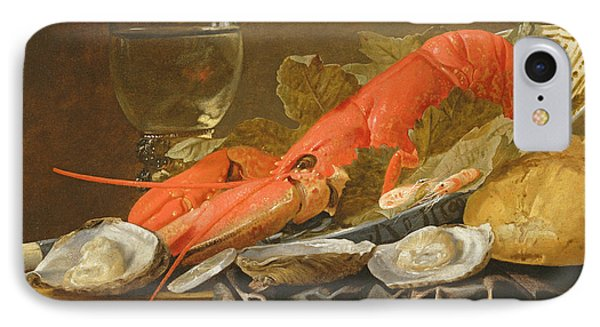 Still Life With Lobster, Shrimp, Roemer, Oysters And Bread Oil On Copper IPhone Case