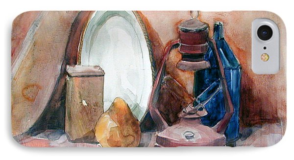 IPhone Case featuring the painting Still Life With Miners Lamp by Greta Corens