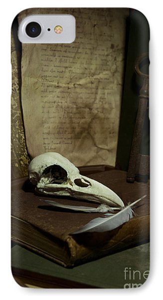 Still Life With Old Books Rusty Key Bird Skull And Feathers Phone Case by Jaroslaw Blaminsky