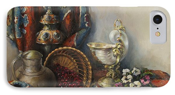 IPhone Case featuring the painting Still-life With Pansies by Tigran Ghulyan