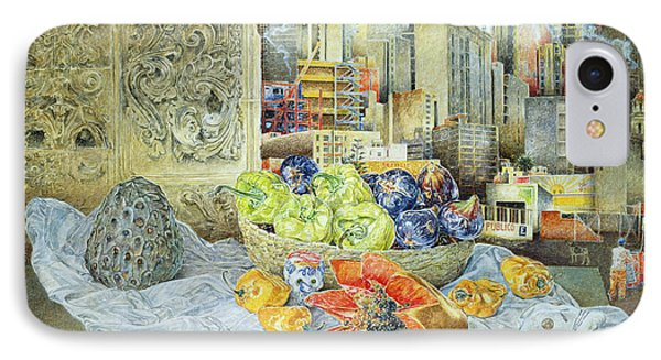 Still Life With Papaya And Cityscape, 2000 Oil On Canvas IPhone Case by James Reeve