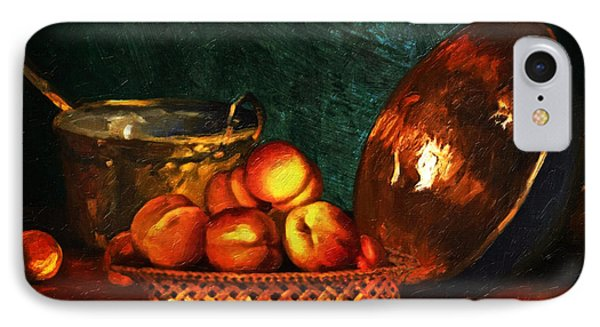 IPhone Case featuring the digital art Still Life With Peaches And Copper Bowl by Lianne Schneider