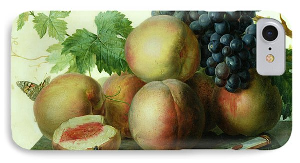 Still Life With Peaches And Grapes On Marble IPhone Case