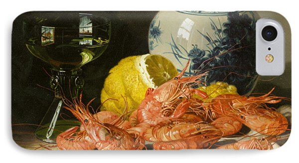 Still Life With Prawns And Lemon IPhone Case by Edward Ladell