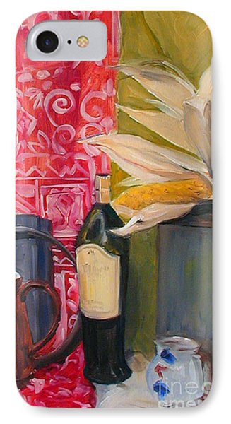 IPhone Case featuring the painting Still Life With Red Cloth And Pottery by Greta Corens