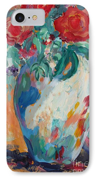 IPhone Case featuring the painting Still Life With Roses Partial View by Avonelle Kelsey