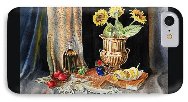 Still Life With Sunflowers Lemon Apples And Geranium  IPhone Case by Irina Sztukowski