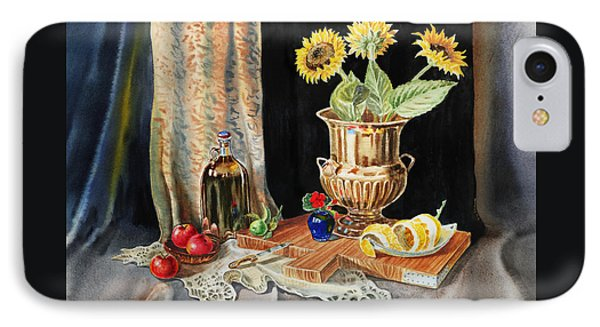 Still Life With Sunflowers Lemon Apples And Geranium  IPhone Case