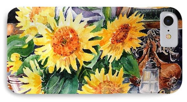 IPhone Case featuring the painting Still Life With Sunflowers  by Trudi Doyle