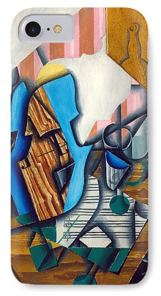 Still Life With Violin And Music Sheet, 1914 Oil On Paper Colle On Canvas IPhone Case by Juan Gris