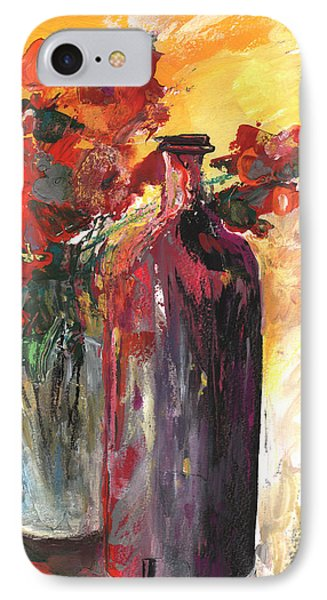Still Live With Flowers Vase And Black Bottle IPhone Case by Miki De Goodaboom