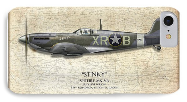 Stinky Duane Beeson Spitfire - Map Background IPhone Case by Craig Tinder
