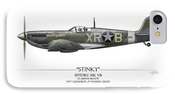 Stinky Duane Beeson Spitfire - White Background IPhone Case by Craig Tinder
