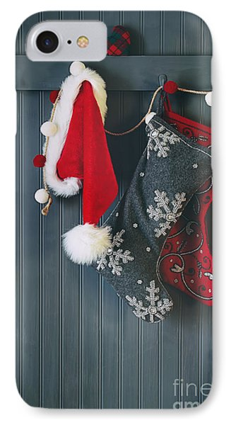 Stockings Hanging On Hooks For The Holidays IPhone Case by Sandra Cunningham