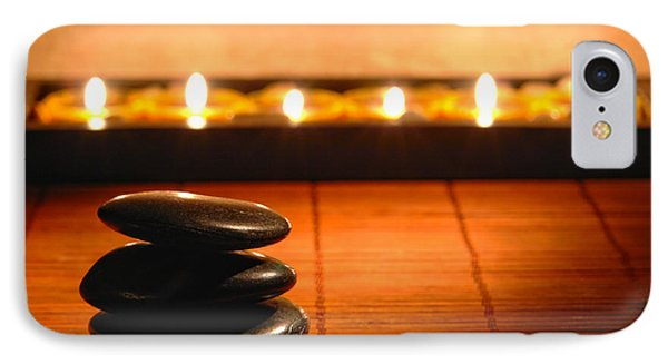 Stone Cairn And Candles For Quiet Meditation IPhone Case