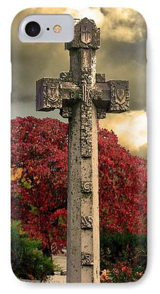 IPhone Case featuring the photograph Stone Cross In Fall Garden by Lesa Fine