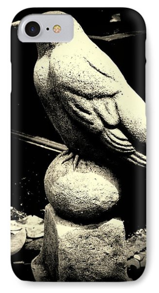 Stone Crow On Stone Ball IPhone Case by Kathy Barney