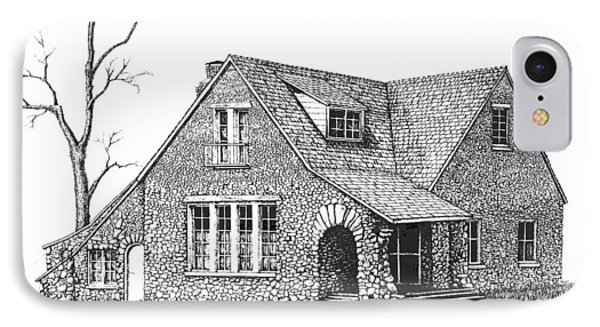 Stone House Pen And Ink IPhone Case by Renee Forth-Fukumoto