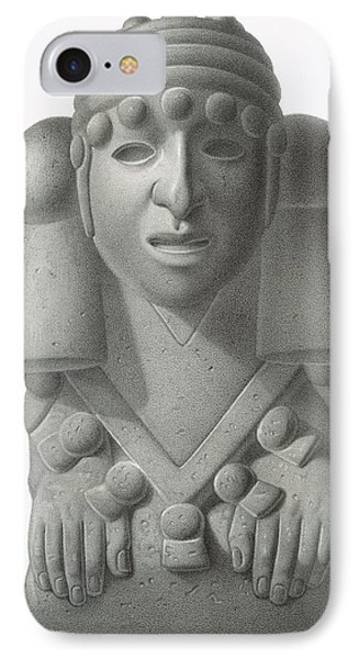 Stone Idol Of The Rain God Cocijo IPhone Case by Johann Friedrich Maximilian von Waldeck