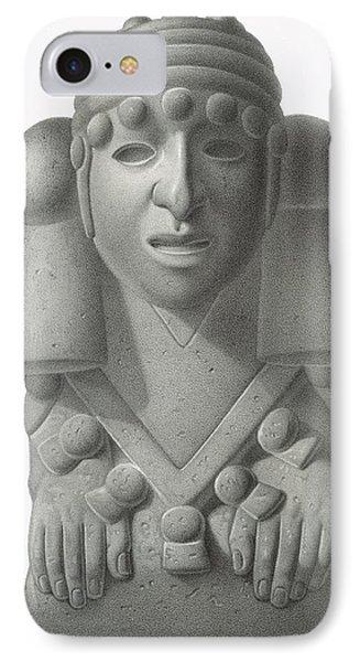 Stone Idol Of The Rain God Cocijo IPhone Case by Johann Friedrich Maximilian von Waldeck