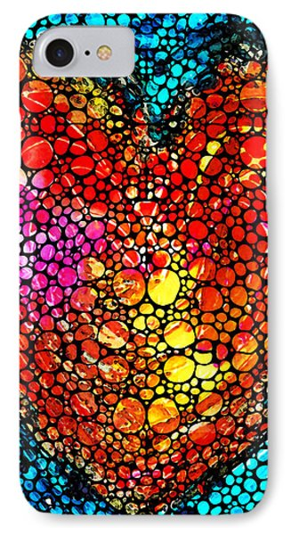 Stone Rock'd Heart - Colorful Love From Sharon Cummings Phone Case by Sharon Cummings