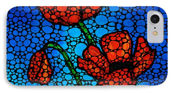 Stone Rock'd Poppies By Sharon Cummings IPhone Case by Sharon Cummings