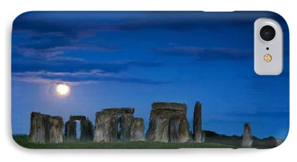 IPhone Case featuring the painting Stonehenge At Night by Bruce Nutting