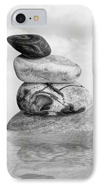 Stones In Water Black And White IPhone Case by Gill Billington
