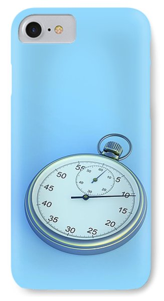 Stopwatch On Blue Background IPhone Case by David Parker