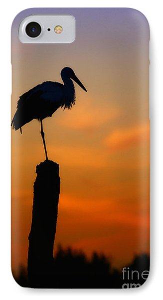 IPhone Case featuring the photograph Storck In Silhouette High On A Pole by Nick  Biemans