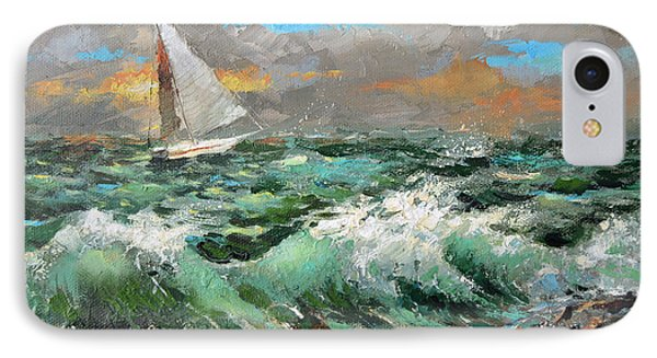 IPhone Case featuring the painting Storm Broke Out by Dmitry Spiros