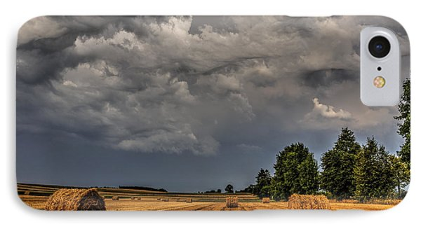 Storm Clouds Over Harvested Field In Poland 2 IPhone Case by Julis Simo