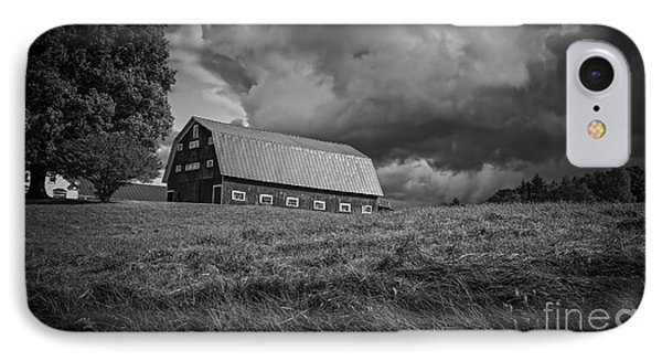 Storm Clouds Over The Farm IPhone Case by Edward Fielding