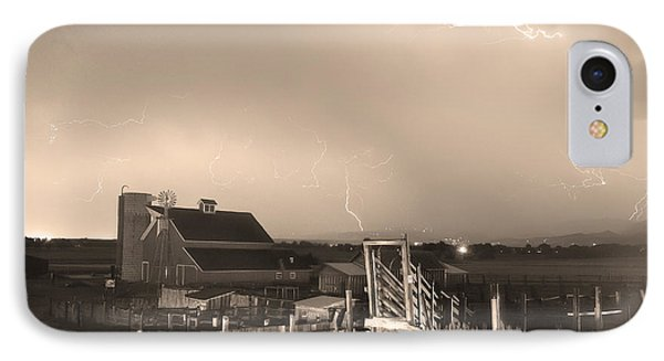 Storm On The Farm In Black And White Sepia Phone Case by James BO  Insogna
