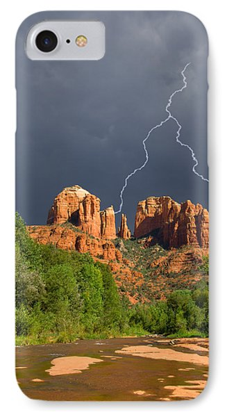 Storm Over Cathedral Rock Phone Case by Alexey Stiop