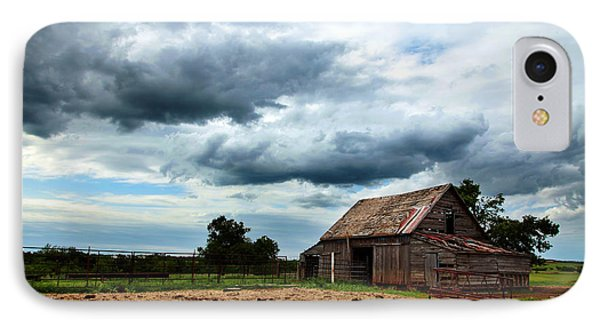 Storms Loom Over Barn On The Prairie IPhone Case