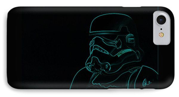 Stormtrooper In Teal IPhone Case by Chris Thomas