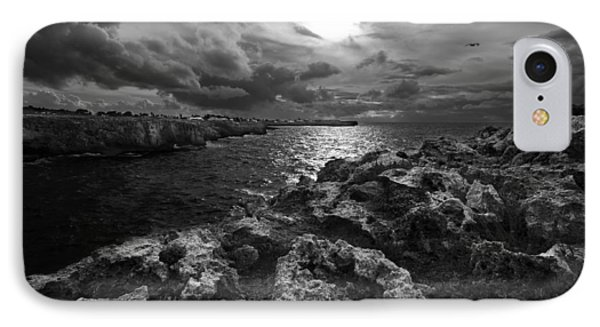 Blank And White Stormy Mediterranean Sunrise In Contrast With Black Rocks And Cliffs In Menorca  IPhone Case