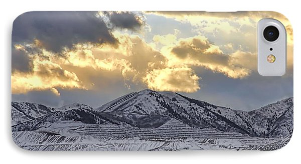 Stormy Sunset Over Snow Capped Mountains Phone Case by Tracie Kaska