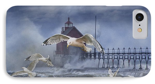 Stormy Weather At The Grand Haven Lighthouse Phone Case by Randall Nyhof