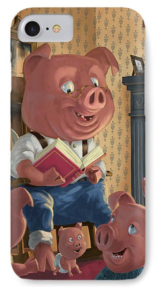 Story Telling Pig With Family Phone Case by Martin Davey