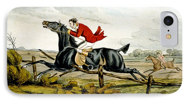Straight Through The Fence From Qualified Horses And Unqualified Riders Phone Case by Henry Thomas Alken