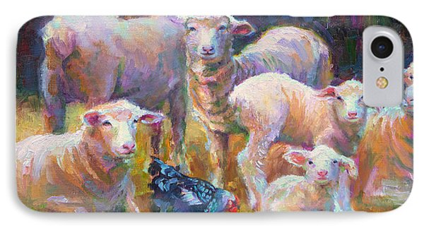 Stranger At The Well - Spring Lambs Sheep And Hen IPhone Case by Talya Johnson