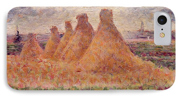 Straw Stacks Phone Case by Georges Pierre Seurat