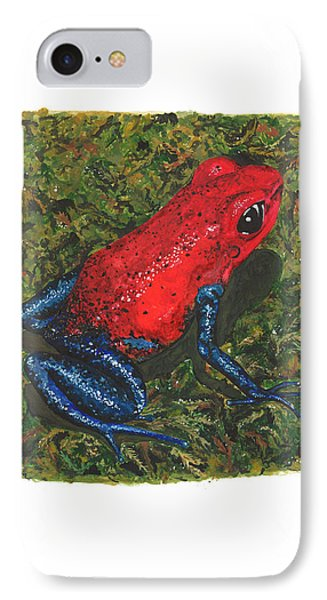 Strawberry Poison Dart Frog IPhone Case by Cindy Hitchcock