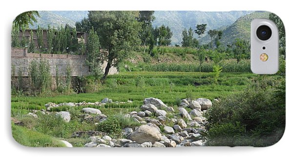 Stream Trees House And Mountains Swat Valley Pakistan IPhone Case