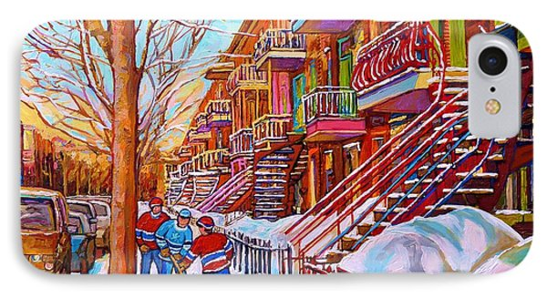 Street Hockey Game In Montreal Winter Scene With Winding Staircases Painting By Carole Spandau IPhone Case by Carole Spandau